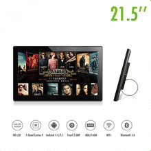 Hot sell 21.5 inch wifi android all in one pc advertising machine with sent ,wall hanging.