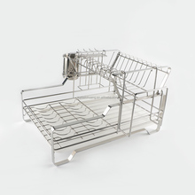 Kitchen folding 2 tier stainless steel dish drainer rack