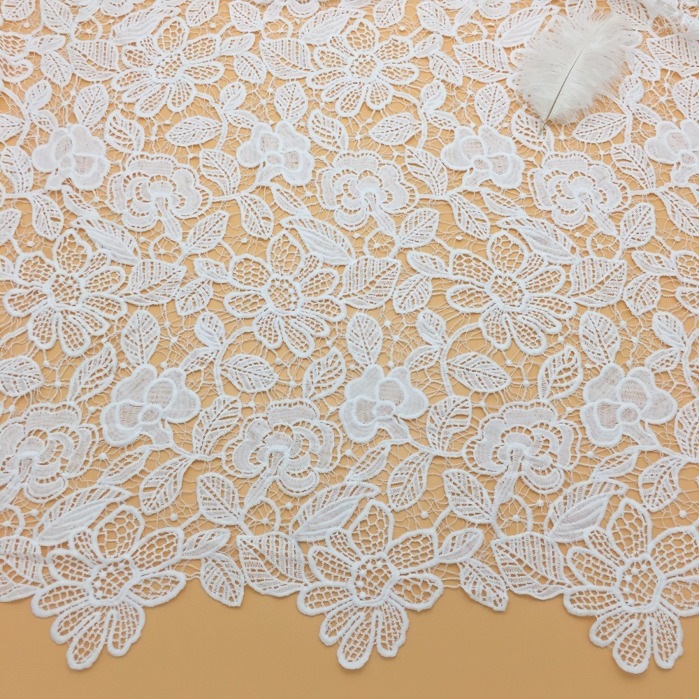 High quality flower design french wedding deress lace embroidered cotton fabric