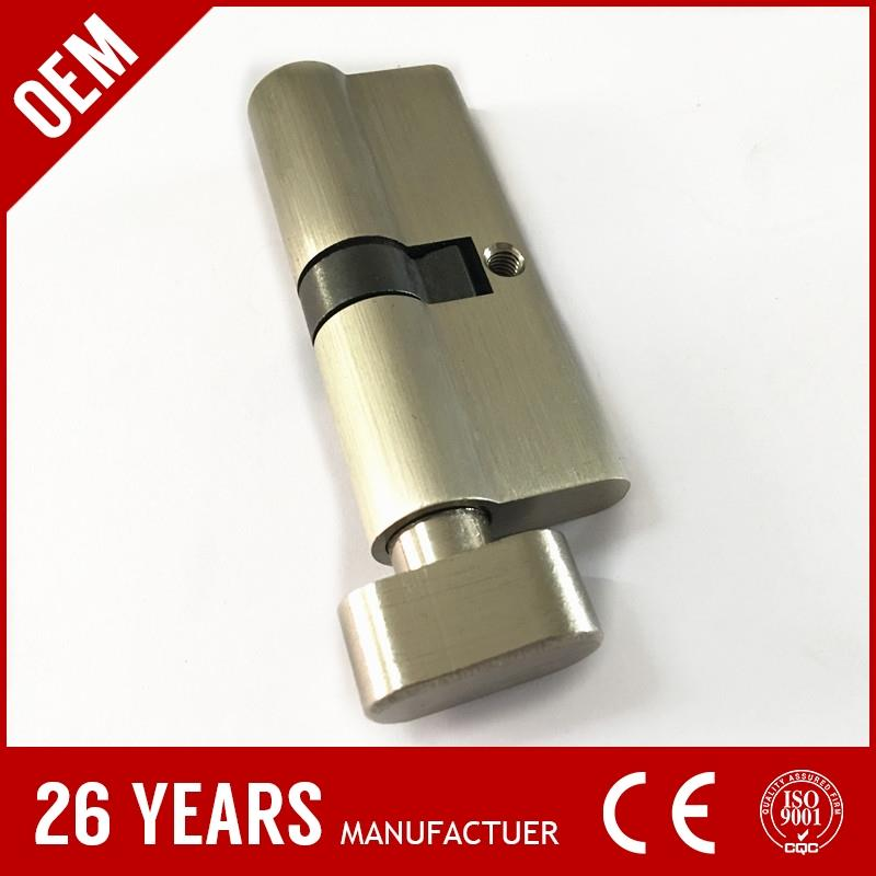 new design aluminium alloy nickel push button cylinder lock with nickel brush color