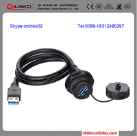 Factory Price IP67 PBT Circular Waterproof Usb Receptacle Waterproof Circular ISO ip67 usb connector A type USB 2.0 connector
