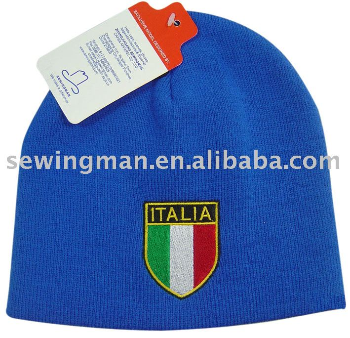 simple cheap football winter knitted hat promotion beanie