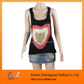 Black loose loving heart print tank top