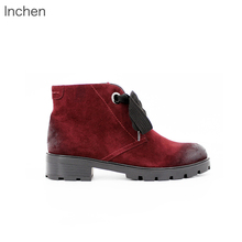 Kid Suede leather ankle boots lace up brush color lamb wool lining fur Flat heel casual shoes winter