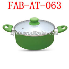 Eco-friendly white ceramic coating Casserole 3003 Aluminum Enamel Pot Enamel Cookware sauce pot with glass lid