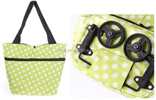 Foldable shopping wholesale rolling tote bag wheels