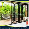 83 inchs high black outdoor folding door / aluminum frosted glass garage door