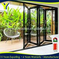 83 inchs high black outdoor folding door / aluminum frosted glass garage door