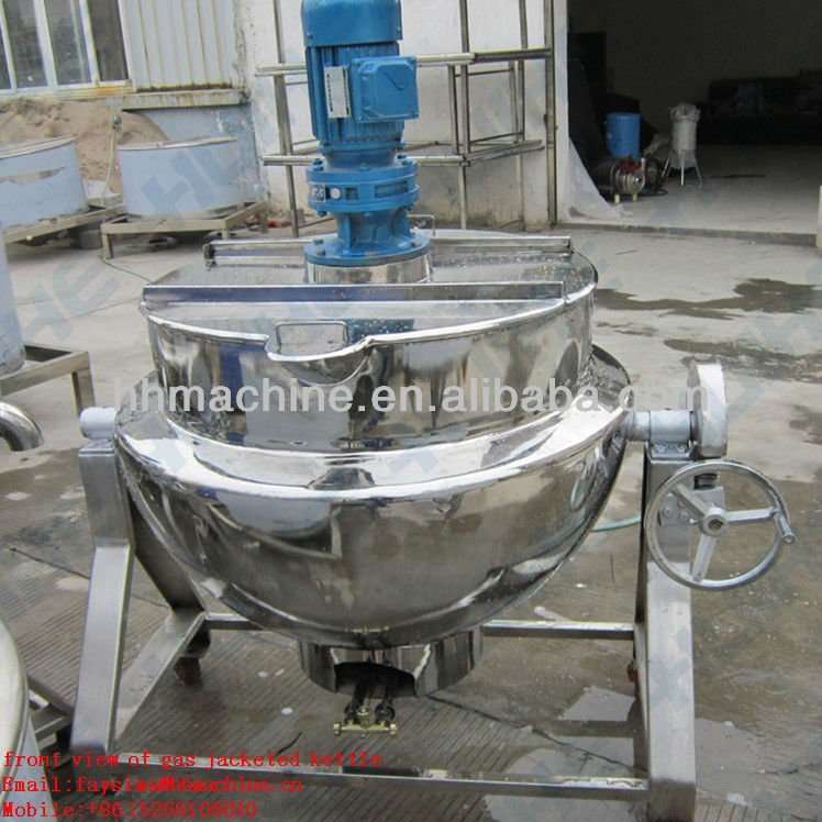 cooking meat pork Gas Heating Jacketed Boiling Kettle with agitator high thermal efficiency made in chine save energy