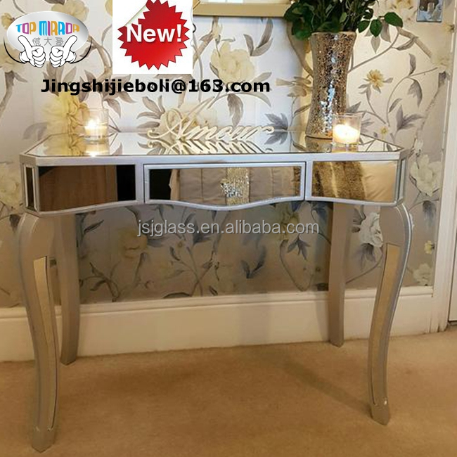 TOP MIRROR hot sale contemporary style mirrored console table Silver Mirrored dressing table or hall console Table