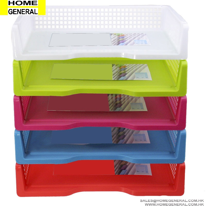 PLASTIC A4 STACKABLE OFFICE FILE TRAY 32x25x6cm (LANDSCAPE)