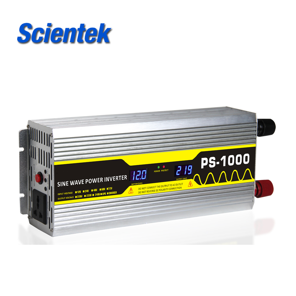 Scientek factory supply 12V24V48V60V72V to 110V220V230V 1000W DC to AC off grid Pure Sine Wave Inverter