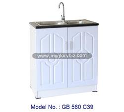 Elegant Design Stainless Steel Sink Kitchen Base Cabinet In White Color For Home Furniture Storage