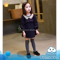 Autumn girl ruched frock sequin collar long sleeve loose dress pleated front pure color cotton dress