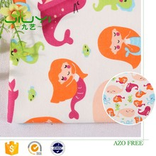 wholesale new design custom printed mermaid soft textile 100% cotton fabric cut pieces