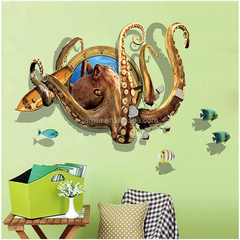 Kids Cartoon 3D Octopus Wall Decal Art Decor Sticker Decals Living Room Decoration