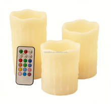 Paraffin Wax Dripping Round Pillar Flameless Multi-color LED Candle with Remote colorReal Wax Color Changing Flameless Candles |