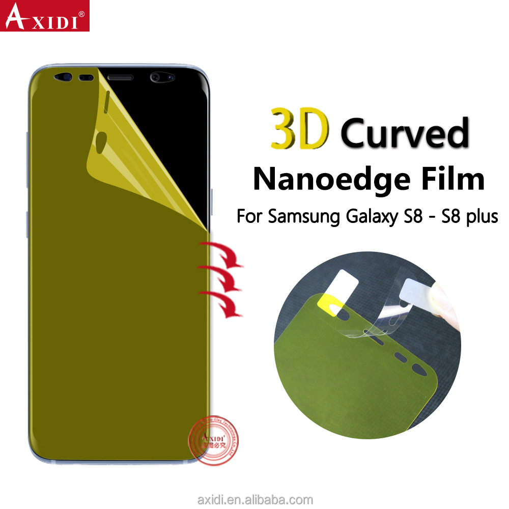 Amazon Nano Edge Full Soft TPU Material 3D Curved Yellow Screen Protector For Galaxy S8 S8 plus Mobile Phone Film