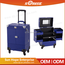 2017 Sunrise new design professional pvc makeup trolley beauty case with cosmetic storage