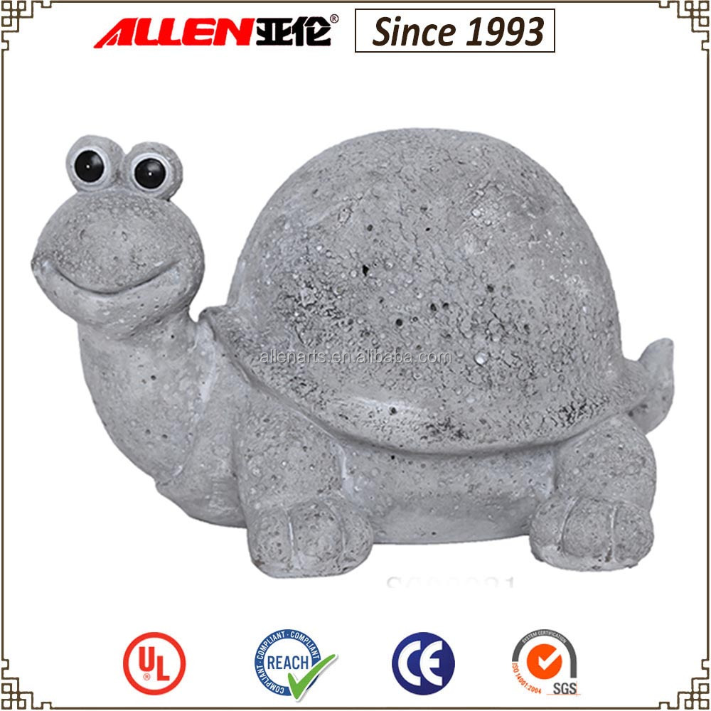 "11"" L cute cement turtle sculpture for garden, reptile cement animal for garden decoration"