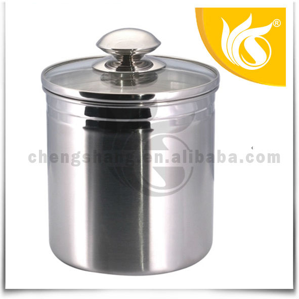 Stainless Steel Kitchen Coffee Canister Sets with Glass Lid