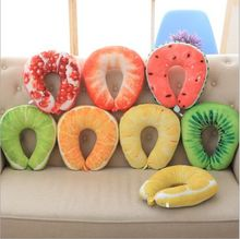 Printed 3d fruits patterns plush U shaped pillow