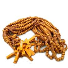 Religions Catholic Crosses Wooden Beads Wooden Rosary <strong>Necklace</strong>