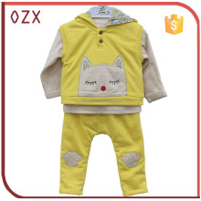 2016 Baby Gift Set 100% Cotton Yellow Romper 3Pcs Autumn New Born Clothing Baby Clothes Set With Good Quality