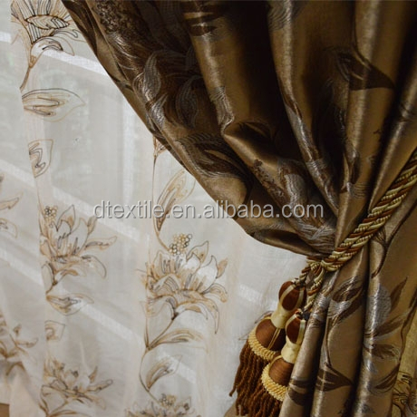 wholesale high quality luxury blackout jacquard curtain polyester fabric european window curtains and drapes