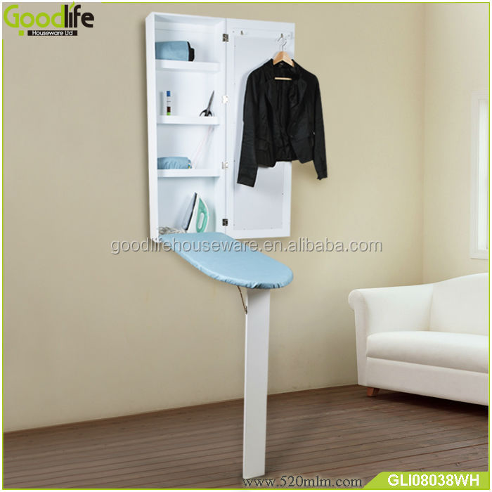 Wooden cabinet folding fancy wall mirrors with ironing board