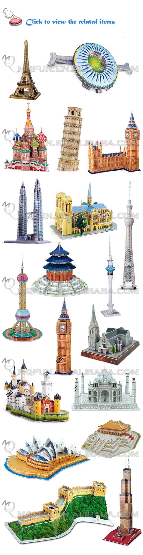 Mini qute eiffel tower building block world architecture 3d paper diy model c - Lego architecture tour de pise ...