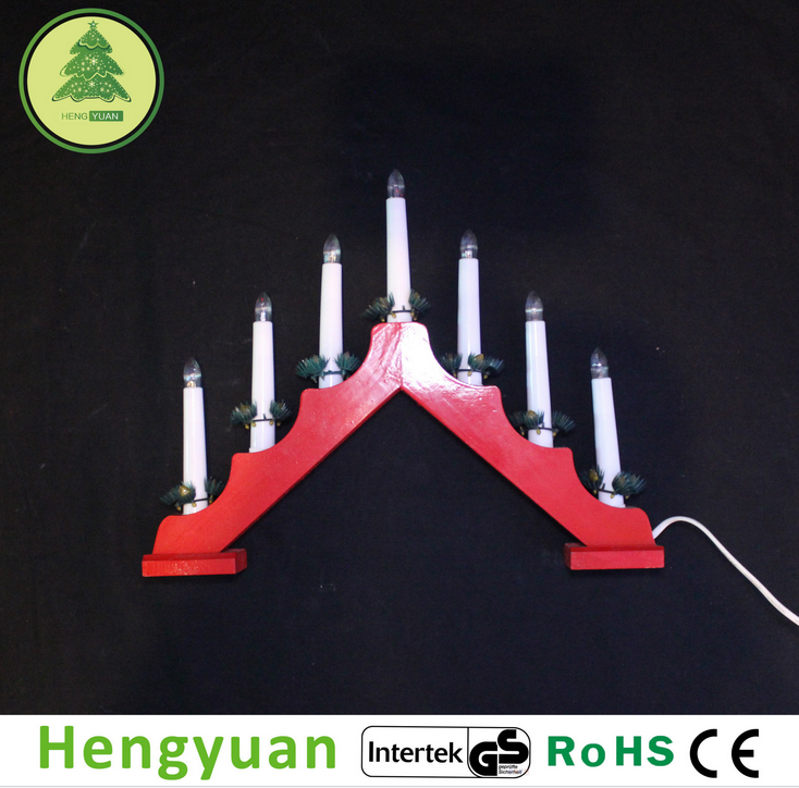 YBH-0052 7L Red wooden candle bridge light Christmas decorative light
