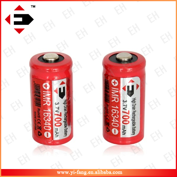 Cheap Factory Price EFAN 16340 3.7V rechargebale battery 700mah button top