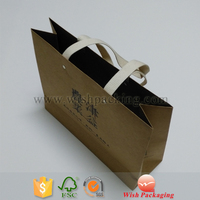 High quality FSC heavy capacity strong cotton band handle recyclable natural brown kraft shopping paper carrying bag