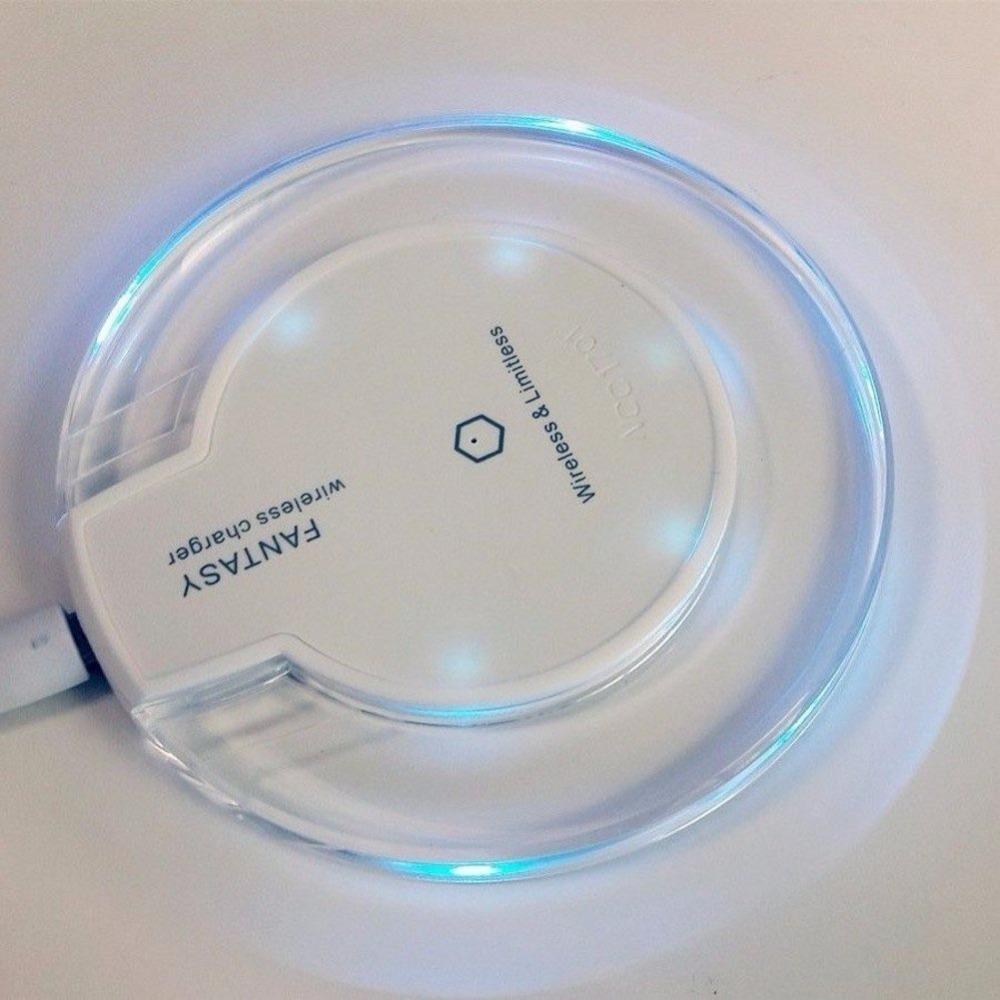 UFO Shape Crystal Clear Fantasy Wireless Charger Charging Pad Qi Standard Ultra-Slim LED light for iphone X 8 8