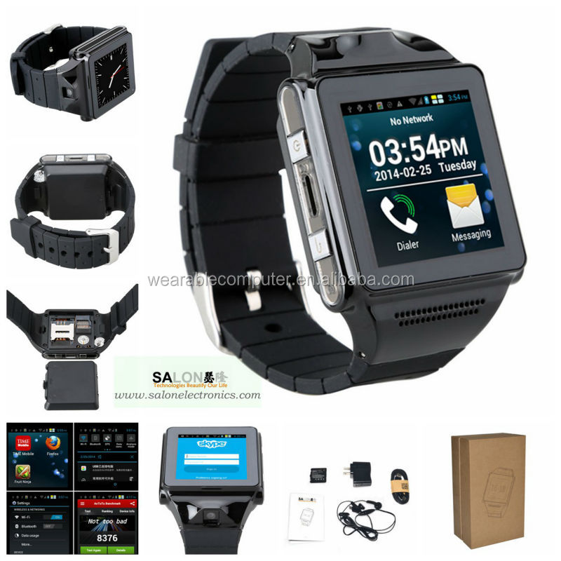 "Free shipping 2014 Swear-3 Android 4.04 smart watch with 5mp camera, 1.54"" touch screen,gps bluetooth wifi cell phone watch"