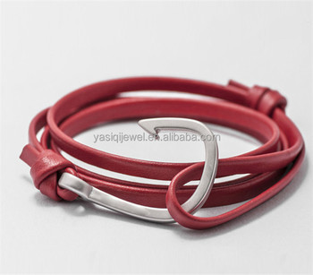 Alibaba most popuar sale chinese red leather silver hook bracelet custom logo for wholesale