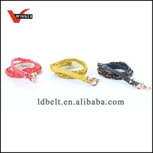 PU hand braided belt with metal chain and lock pendant