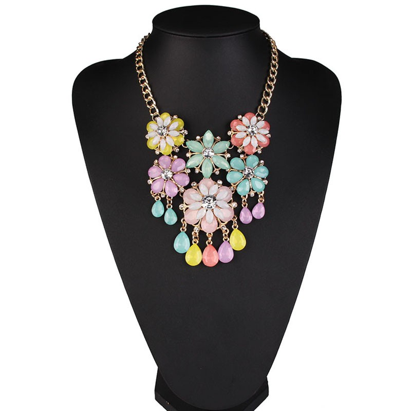 wholesale fashion jewelry handmade spring summer resin acrylic crystal flower statement necklace for women jewelry 42504