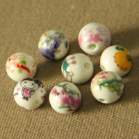 12mm Round Exquisite Ceramic glaze Porcelain Flower Decal Spacer Beads Traditional Chinese Style