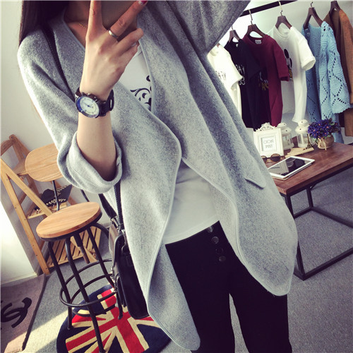 MOON BUNNY High Quality Long Cashmere Knitted Cardigan Women Casual Loose Lrregular Large Lapel Sweater Coat Female 2015 Autumn
