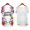 China manufacturer custom short sleeve white flower knit wholesale t shirt women