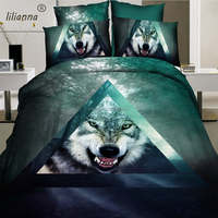 2016 green & blue 3D vivid wolf bedding sets luxury reactive printed bedding sets