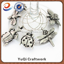 garden theme metal insect wine glass charms for wine promotional gifts