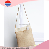 Jute shopping bag tote factory sale high quality handle bag TC16-23
