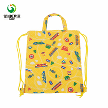 New fashion cute printed durable polyester kids drawstring bag with handle