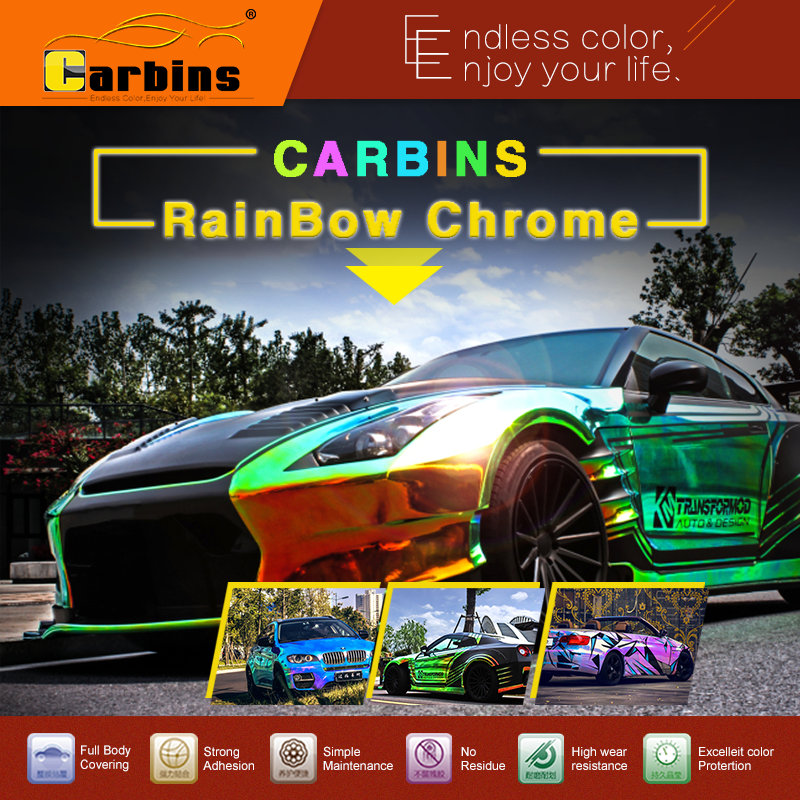 Rainbow Chrome Mirror vinyl car wrap chameleon green to gold color changing film
