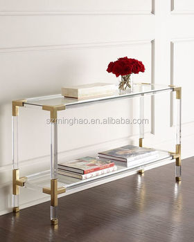 square wall side clear acrylic console table