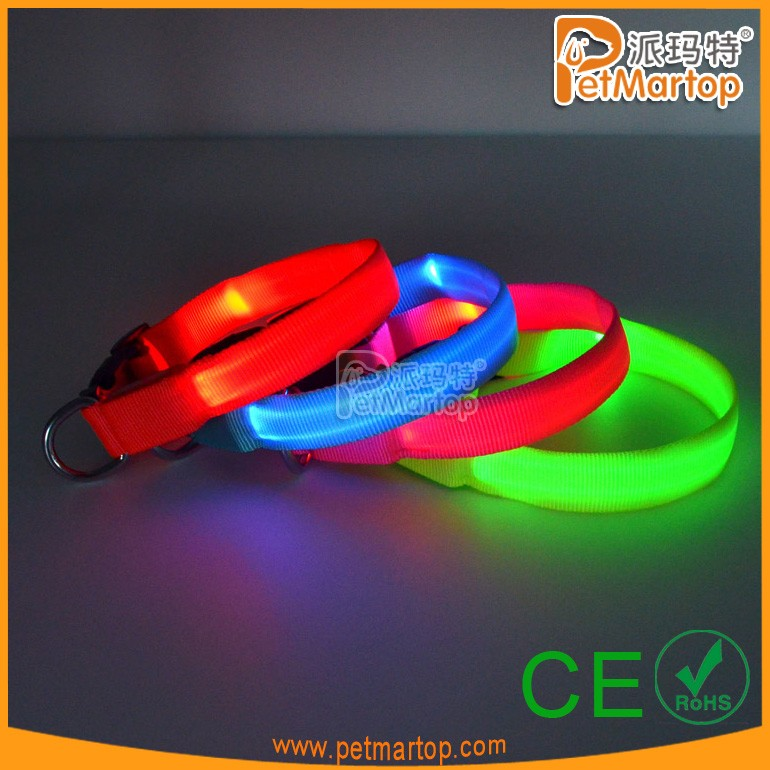 Pure Color Pet Dog LED Flashing Collar For Christmas Promotion