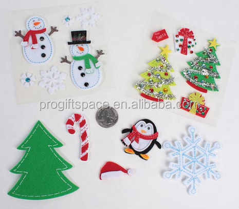 2017 hot wholesale graphic design high quality new products custom home wall decoration felt christmas sticker made in China